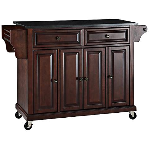 Dover black granite top mahogany kitchen island cart for Black kitchen island with granite top