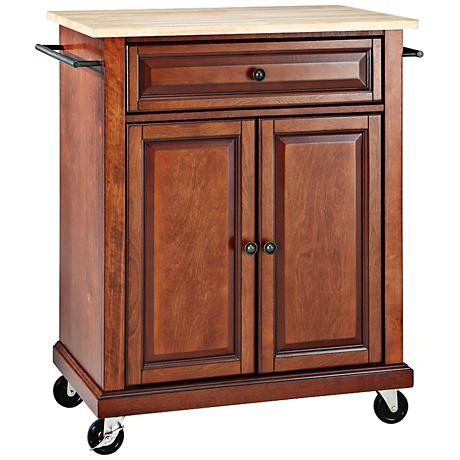 york natural wood top cherry 2 door kitchen island cart