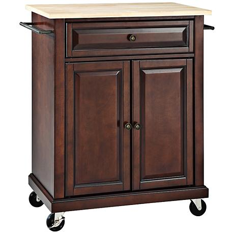 York Natural Wood Top Mahogany Kitchen Island Cart