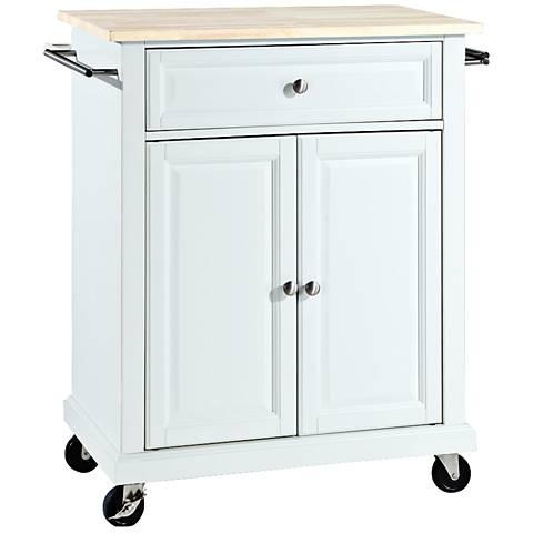 York Natural Wood Top White 2-Door Kitchen Island Cart