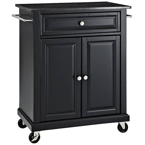 York Black Granite Top Black 2-Door Kitchen Island Cart