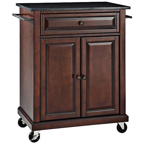 York Black Granite Top Mahogany Kitchen Island Cart