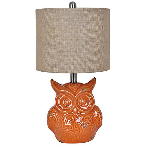 Crestview Collection Raleigh Owl Orange Table Lamp