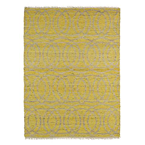 Kaleen Kenwood KEN03-28 Yellow Circles Jute Reversible Rug