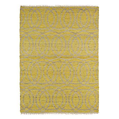 Kaleen Kenwood KEN03-28 Yellow Circles Jute Reversible Rug