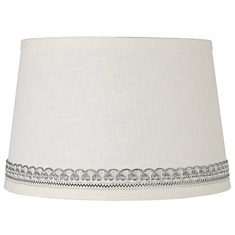 Linen Shade with Silver Looped Trim 10x12x8 (Spider)