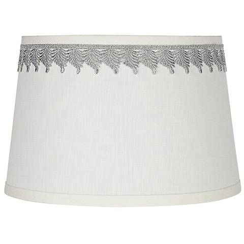 White Linen Shade with Silver Leaf Trim 10x12x8 (Spider)