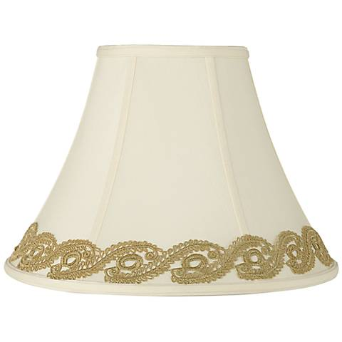 Creme Shade with Gold Vine Lace Trim 7x16x12 (Spider)