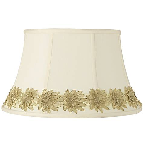 Creme Shade with Gold Flower Trim 13x19x11 (Spider)