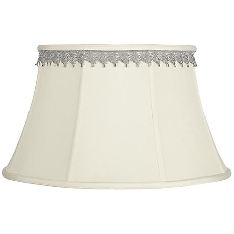 Creme Bell Shade with Silver Leaf Trim 13x19x11 (Spider)