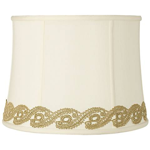 Drum Shade with Gold Vine Lace Trim 14x16x12 (Spider)