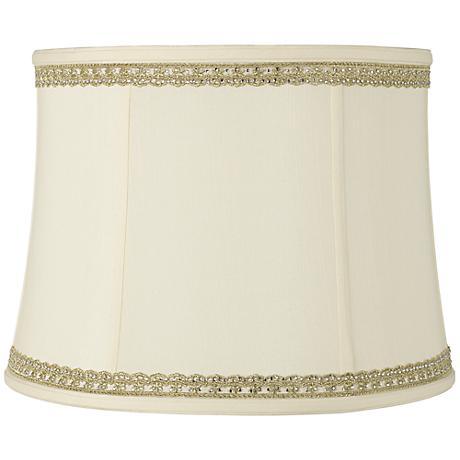 Drum Shade with Lace and Rhinestone Trim 14x16x12 (Spider)