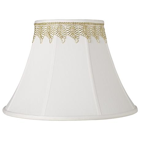 White Shade with Embroidered Leaf Trim 9x18x13 (Spider)