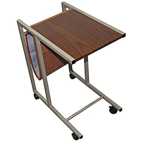 Finley Wood Grain Laptop Cart with Casters