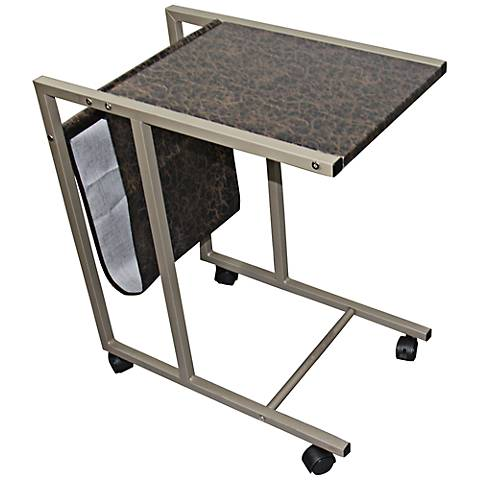 Finley Black Marble Print Laptop Cart with Casters