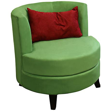 Sasha Green Upholstered Accent Chair with Pillow