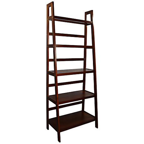 Jasper Walnut 5-Tier Ladder Shelf