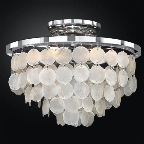 Bayside 13 Quot Wide Silver Pearl Capiz Shell Ceiling Light