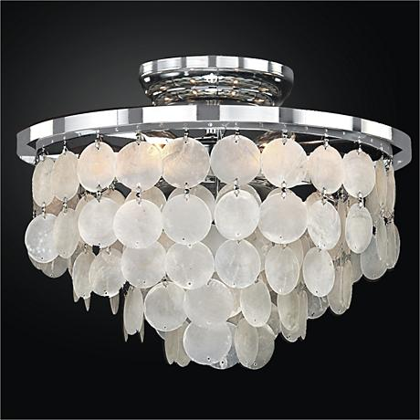 """Bayside 13"""" Wide Silver Pearl Capiz Shell Ceiling Light"""