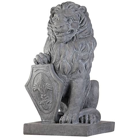 """Esparza Gray 25 1/4"""" High Sitting Lion Outdoor Statue"""