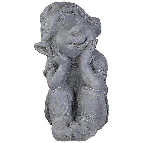 "Sitting Gnome 13"" High Gray Garden Accent"