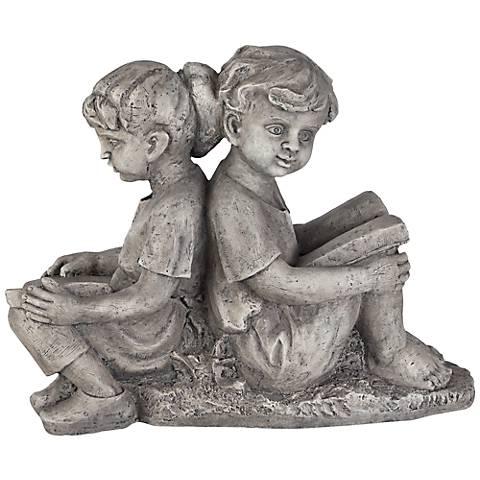"Sitting Boy & Girl 22"" High Outdoor Statue"