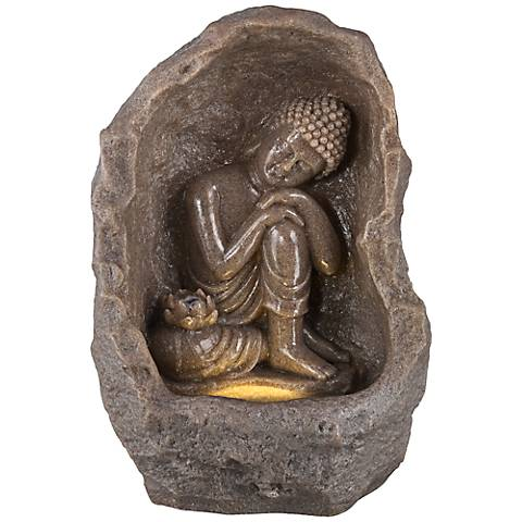 "Sitting Buddha Indoor 14 1/4"" High Faux Stone Fountain"