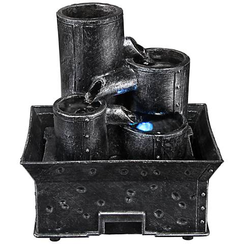 "Watland Industrial Pipes 6 1/2"" High LED Table Fountain"