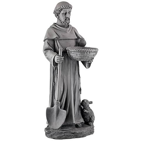 "St. Francis 28 1/2"" High Stone Gray Outdoor Bird Bath Statue"