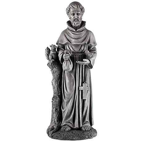"St. Francis 30 1/2"" High Stone Gray Outdoor Statue"