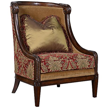 Giovanna Caramel Carved Wood Accent Chair