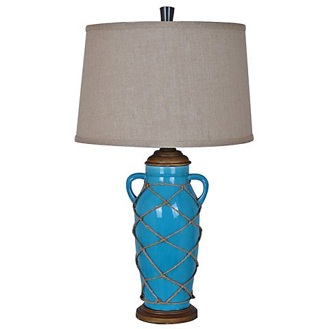 Crestview Collection Thatcher Turquoise Tall Table Lamp
