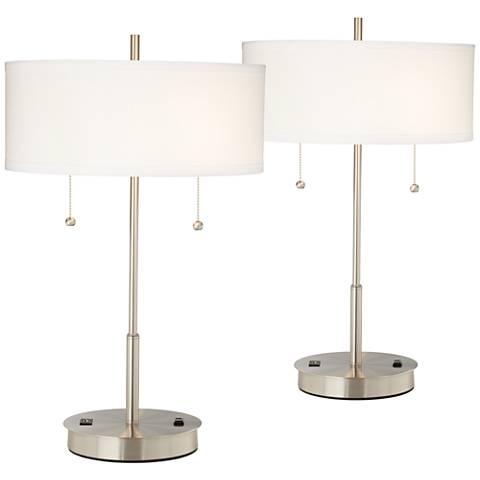 Set of 2 Nikola Silver Finish Utility Plug - USB Table Lamps