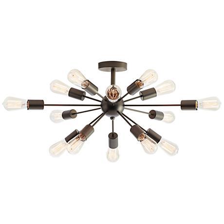 "Possini Euro Hemingson 28"" Wide Edison Bronze Ceiling Light"
