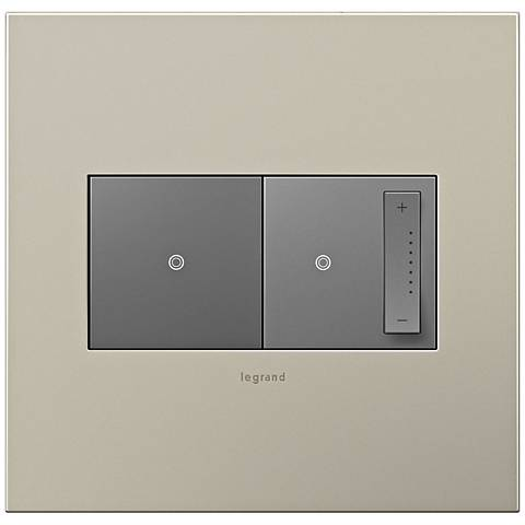 Satin Nickel 2-Gang Cast Metal Wall Plate w/ Switch and Dimmer