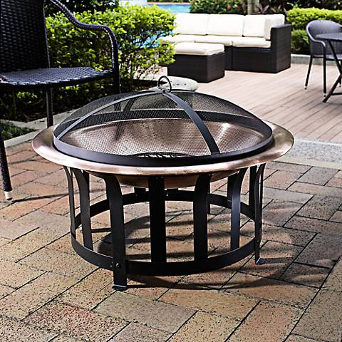 """Ridgeway Copper Dome and Steel 40 1/2"""" Wide Outdoor Firepit"""