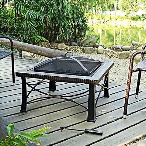 """Firestone Tuscan Slate 30""""-W Black Steel Low Outdoor Firepit"""