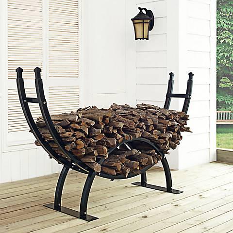 Gunnison Black Crescent Large Outdoor Firewood Rack