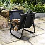 Logan In or Out Black Canvas and Steel Firewood Carrier Rack