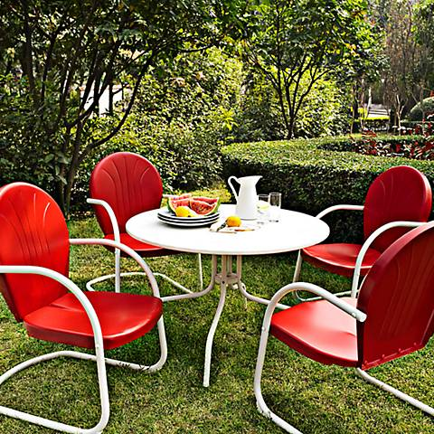 Griffith 5 Piece Nostalgic Red Metal Outdoor Dining Set