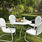 Griffith 5-Piece Nostalgic White Metal Outdoor Dining Set