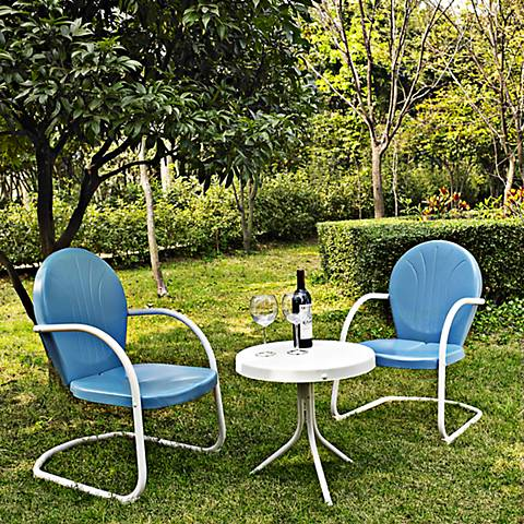 Griffith 3-Piece Sky Blue Outdoor Table and Chairs Set