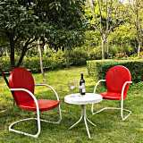 Griffith 3-Piece Red Metal Outdoor Table and Chairs Set