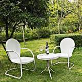 Griffith 3-Piece White Metal Outdoor Table and Chairs Set