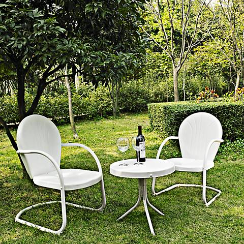 Griffith 3-Piece White Metal Outdoor Table and Chairs Set ...