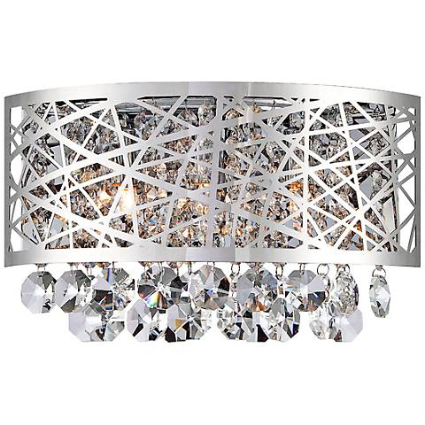 """Lite Source Benedetta 12"""" Wide Cut Crystal Wall Sconce"""