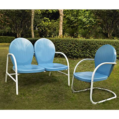 Griffith 2-Piece Sky Blue Outdoor Conversation Seating Set