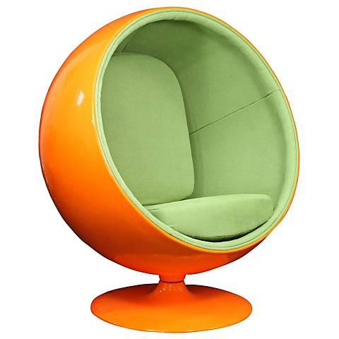 Kaddur Green Fabric Modern Orange Ball Lounge Chair
