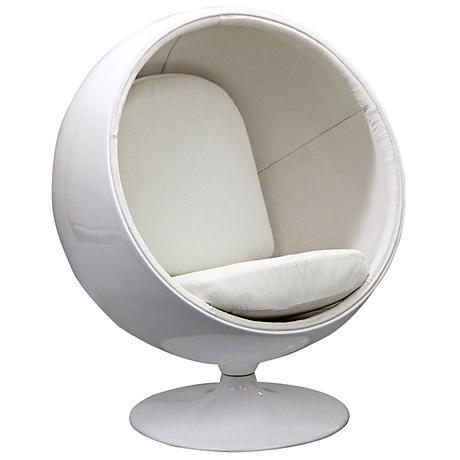 Kaddur White Fabric Modern Ball Lounge Chair