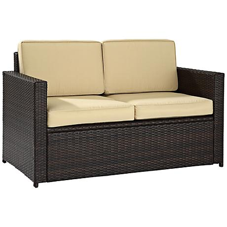 Palm Harbor Cushioned Outdoor Wicker Loveseat